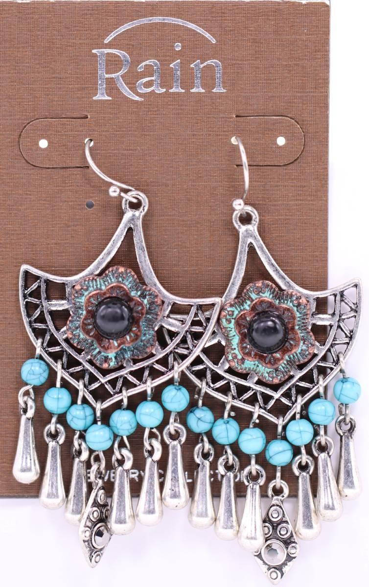 Turquoise Shield Drop Earrings