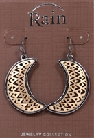 Rain Jewelry chevron crescent earrings 1-1/2""
