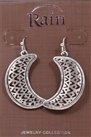 Rain Jewelry chevron crescent earrings silver 1-1/2""