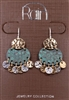 Rain Jewelry tri-tone metal hammered disc drop earrings 1-1/2""