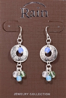 Rain Jewelry open disc bead center silver metal drop earrings 1-5/8""