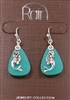 "Rain Jewelry dangling mermaid with aqua disc earrings 1-1/2"" Crystal Lattice Funky Market"