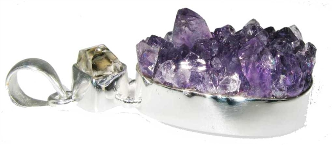 amethyst cluster points with Herkimer diamond top accents, .925 sterling silver earrings 1-3/4""