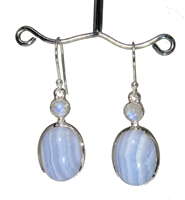 blue lace agate oval cabochons with rainbow moonstone tops in sterling silver earrings 1-1/2""