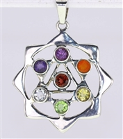 chakra gemstone pendant in sacred pyramid star of David mandala formed sterling silver 1-5/8""