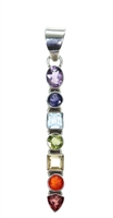 faceted gemstone chakra pendant stacked shapes of oval cushion round triangle stones in sterling silver 2-1/4""