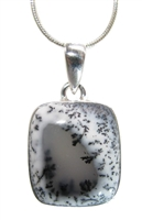 "dendritic opal pendant aka merlinite cabochons in milky white with black splashes form a scenic image 1-1/2"" in .925 sterling silver."