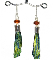 black kyanite with titanium oxide plating earrings creating rich iridescence of blues greens and golds stunning with faceted orange kyanite topper in sterling silver 2-1/4""
