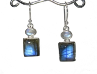 labradorite square cabochons with oval rainbow moonstone tops drop earrings sterling silver 1-1/4""