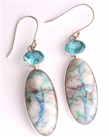shatakite earrings elongated with faceted blue apatite oval tops very showy striations 1-1/2""