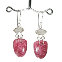 "thulite shield shaped cabochons dangling from faceted Herkimer diamonds 1-7/8"" .925 sterling silver."