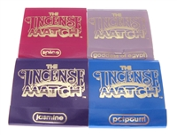Incense Match matchbook incense 4-pack in the scents of Potpourri, Jasmine, Spice, Goddess of Egypt. each matchstick is a tiny stick of incense