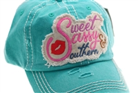 Teal ponytail cap says, sweet sassy & southern