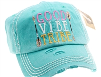 Turquoise ponytail cap says Good Vibe Tribe