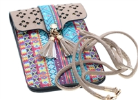 Aztec designs cell phone bag with clear plastic on back side to view and use your cell phone.