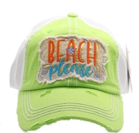 ponytail cap says beach please lime hat with word beach in orange and please in blue mesh back