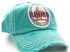ponytail cap says rodeo sweetheart with horseshoe in front distressed style teal color