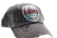 ponytail cap says rodeo sweetheart with horseshoe distressed style grey color mesh back