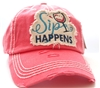 ponytail cap says sip happens with wine glass in front distressed style coral color