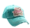 ponytail cap says sip happens with wine glass in front distressed style teal color