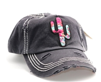 ponytail cap with saguaro cactus on  front floral pattern beneath brim really cute grey black color distressed style