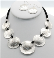 fashion necklace, metal discs with black suede and earrings set.