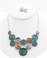 bib necklace swirling circles, tri metal colors