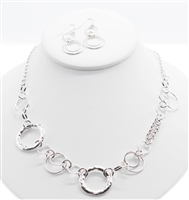linked circles, silver mixed metal necklace with earrings