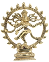 "Shiva Nataraja statue, solid brass 6"".  Dancing Shiva in the wheel of fire."