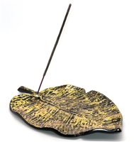 "Golden metal leaf incense burner, 12"" x 7.5"".  Room decor, whole for stick incense at stem base."