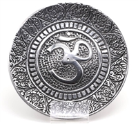Aluminum incense burner, round very nice OM design, holes for 5 sticks of incense.
