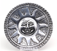 aluminum incense burner round with a sun face holds one stick of incense at a time, 4""