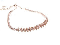 rose gold colored rhinestone cinch bracelet, dainty