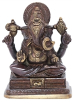 Ganesha statue, antiqued brass 6""