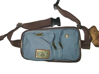 canvas hip pouch, blue, fanny pack, 4 zippered pockets, will hold small cell phone.  Heavy weight canvas.