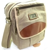 khaki canvas padded shoulder bag, will hold Ipad type device.  Long shoulder strap, pockets and zippers