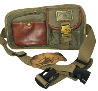 5 pocket canvas fanny pack, olive color.  4 zippered pockets plus 1 snap pocket