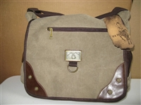 large canvas shoulder bag light brown with leather-look trim.  Messenger bag style with bottle holder on side.  High quality, large bag lots of pockets
