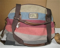 "Canvas tote bag. Use handle or removable shoulder strap.  Colorful striped canvas khaki plus smokey blue, red and orange. 12"" x 16"""
