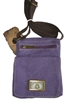 canvas grab & go bag, purple with brown shoulder strap. 2 zippered pouches and a snap flap.  passport bag style