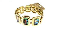 Metal fashion stretch bracelet with abalone disc inlay.  Chunky bracelet