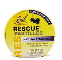 Bach Rescue Remedy pastilles, black currant flavor.  35 pastilles in round tin.