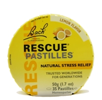 Bach Rescue Pastilles, lemon, 35 count in round tin.