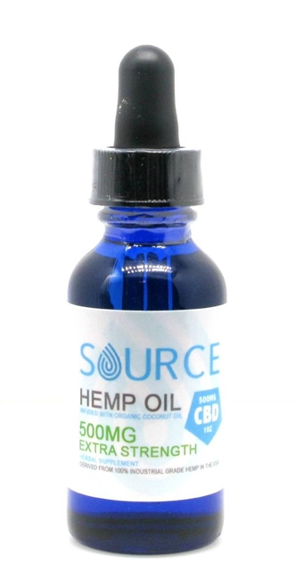 Source 500 mg CBD oil;  organically grown, hemp-derived, industrial grade and full spectrum. Source CBD tincture is infused in organic coconut oil and sold in glass, one ounce dropper bottles.  CO2 extraction and is non-psychoactive.