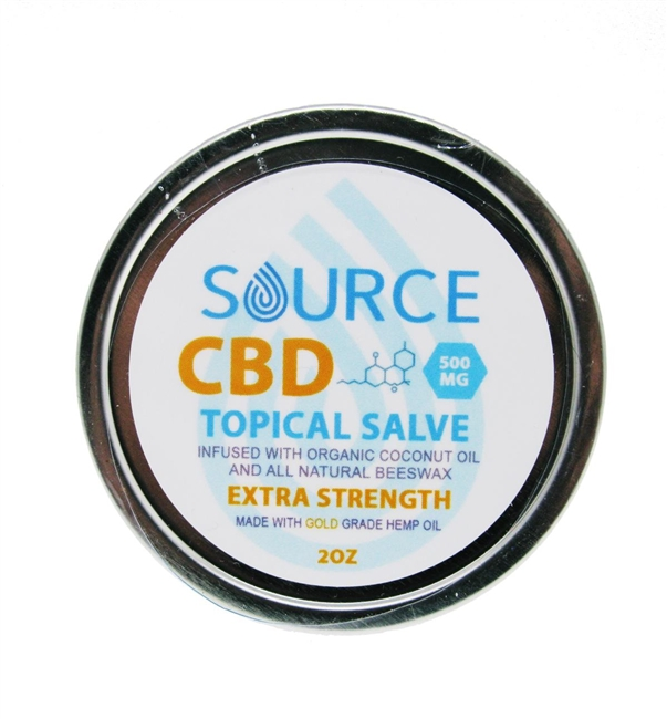 Source 500 mg CBD salve, organically grown, hemp-derived, industrial grade and full spectrum.  Source CBD salve is infused in organic coconut oil and beeswax.