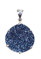 "Druzy quartz round flat pendant.  Titanium plating yields flashy deep blues in sterling silver setting, 1-1/2""."