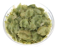 Organic hops flowers. Sold in stand-up resealable pouch with window.