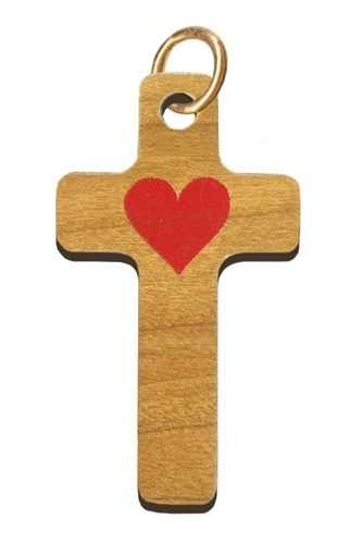 Wood Cross with Red Heart (Spanish