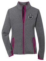Ladies Stretch Contrast Full-Zip Jacket - Black and Silver Seal