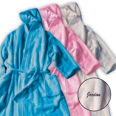 HOODED TERRY VELOUR BATHROBE